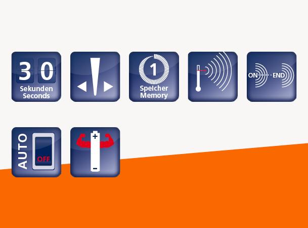 Domotherm Junior: Vorteile und Funktionen durch Icons dargestellt
