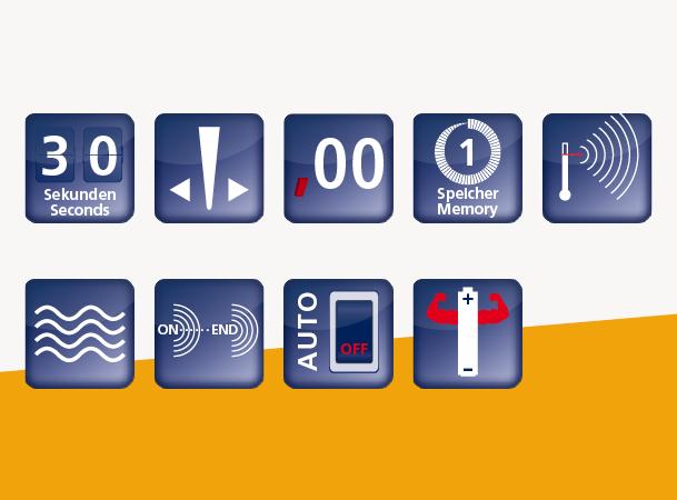 Domotherm Rapid: Vorteile und Funktionen durch Icons dargestellt