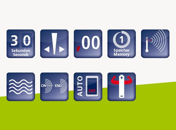 Domotherm Rapid Color: Vorteile und Funktionen durch Icons dargestellt